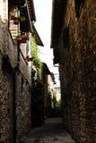 Italian village walls and street stock photo