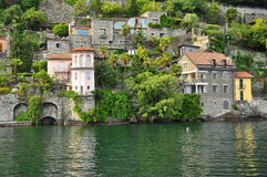 Italian villas by the shore of Lake (lago) Maggiore, Italy. Stock Image