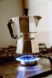 Italian vintage coffeepot on kitchen stove.  Stock Photography