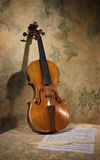 Italian violin with score on a stone wall Stock Images