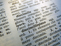 Italian vocabulary Stock Photos