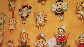 Italian Wall Clock Pinocchio Nursery.  stock video footage