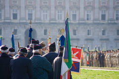Italian war veterans and young soldiers aligned Royalty Free Stock Photo