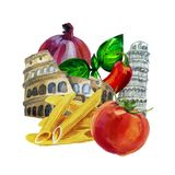 Italian watercolor set. Coliseum. Pisa Tower. Pasta ingredient. Stock Images