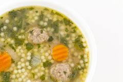 Italian Wedding Soup. With meatballs and pepe noodles Stock Photo