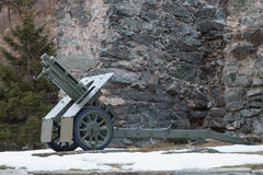 Italian wheeled howitzer 75/18 model 35 used in second world war Stock Photos