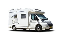 Motorhome side view isolated on white stock images