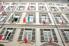 Italian windows with national flag in Turin Royalty Free Stock Photos