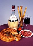 Italian wine with bread and ham. Stock Photo