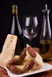 Italian wine and cheese stock photo