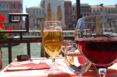 Italian wine and Grand Canal in Venice Royalty Free Stock Images