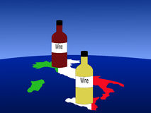 Italian wine with map Stock Photography