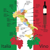 Italian wine  map. Stock Photos
