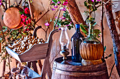Italian winery with bottle and bottle of wine Royalty Free Stock Image
