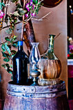 Italian winery with bottle and bottle of wine Stock Images