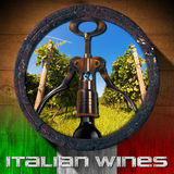 Italian Wines - Wooden Barrel. Old wooden barrel with green vineyard inside, corkscrew and black wine bottle, italian flag and text Italian Wines Royalty Free Stock Images