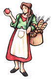 Italian Woman. With food and apron Stock Photography