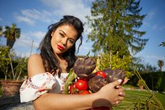 An Italian woman, a housewife, collects vegetables for dinner in a home garden.  royalty free stock photo