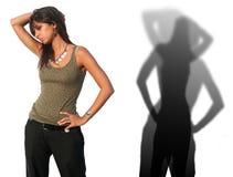 Italian Woman Model Shadows. Beautiful Italian Woman in Pose - Whit silhouette Shadow Royalty Free Stock Photo
