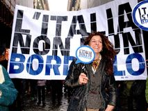 Italian women against Prime Minister Berlusconi Stock Image