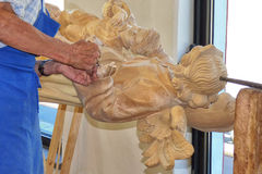 An Italian Wood Carver at Work Stock Image