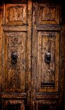 Italian Wooden Door with Lion Knockers Royalty Free Stock Image