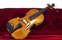 Italian wooden Violin in case box Royalty Free Stock Photography