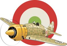 Italian WW2 airplane. Camouflated WW2 fighter plane on the round tricolor Italian cockade background Royalty Free Stock Photography