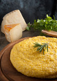 Italian  Yellow Polenta. Italian Yellow Polenta with parmigiano and rosemary Royalty Free Stock Photos