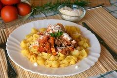 Italiana de las pastas con la carne y salsa y queso parmesano de tomate Foto de archivo libre de regalías