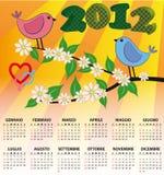italiano 2012 del calendario del pájaro Fotos de archivo