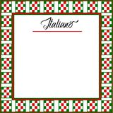 Italiano Background Menu with red, green, white checkered border. Italian background with a checkered in red, green and white border. Line in place with text vector illustration