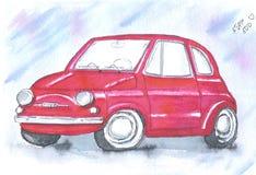 Italiano d'annata rosso anziano dell'automobile - Fiat 500 Fotografia Stock