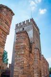Italiano de Castelvecchio: ` Velho do castelo do ` a torre foto de stock