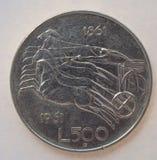 Italiano 500 liras de moneda Imágenes de archivo libres de regalías