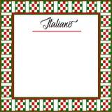 Italiano tła menu z czerwienią, zieleń, biała w kratkę granica ilustracja wektor