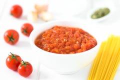 Italiano tradicional caseiro Marinara ou molho de tomate de Pomodoro fotografia de stock