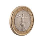 Italiano un euro con el hombre de Vitruvian Imagen de archivo libre de regalías