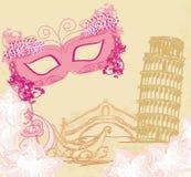 Italianos dos símbolos - a máscara do carnaval, Veneza, gôndola, torre de Pisa Fotos de Stock