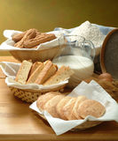 Italians biscuits. Some types of fragrant italian biscuits Stock Photos