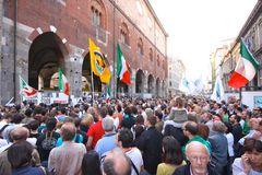 Italians rally for press freedom. Tens of thousands of Italians have protested in Rome and in other Italian cities against what they say are threats to press Royalty Free Stock Image