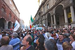 Italians rally for press freedom. Tens of thousands of Italians have protested in Rome and in other Italian cities against what they say are threats to press Stock Image