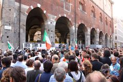 Italians rally for press freedom. Tens of thousands of Italians have protested in Rome and in other Italian cities against what they say are threats to press Royalty Free Stock Photos