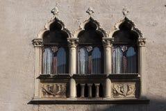 Italians windows. Three Italians windows in Suave-medieval town in Veneto region Royalty Free Stock Photos