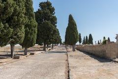 Italica, ruinas y camino, Andalucía España Fotos de archivo libres de regalías