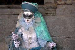"""Italien †""""Venezia - karneval - blå snäll maskering Fotografering för Bildbyråer"""
