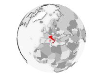 Italien auf der grauen Kugel lokalisiert Lizenzfreie Stockfotos