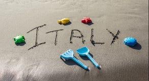 Italien auf Sandstrand Lizenzfreies Stockfoto