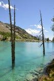 Italien (Ayas-Tal) Lago blau Stockbild