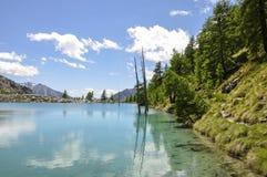 Italien (Ayas-Tal) Lago blau Stockfoto